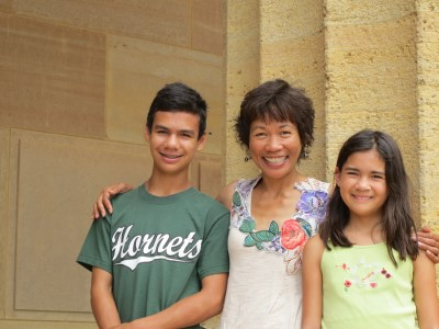 My all-time favorite photo of me and the kids, outside the Philadelphia Museum of Art, August 2014.