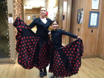 Isabella and Tana at a March performance - flamenco twins.