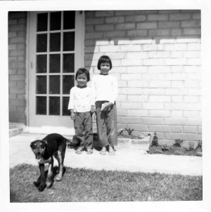 Joyce and me in front of our first house in Terra Bella, 1967.