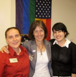 Sirona and her wife, Sinead, campaigning for her mom's State Assembly primary race in 2008.