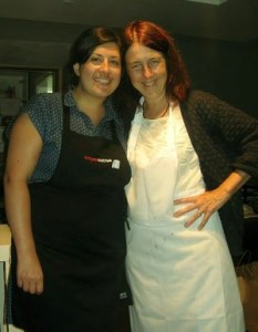 Sirona's mom helps out with dishes after a pop-up dinner.