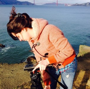 Filming by the San Francisco Bay.