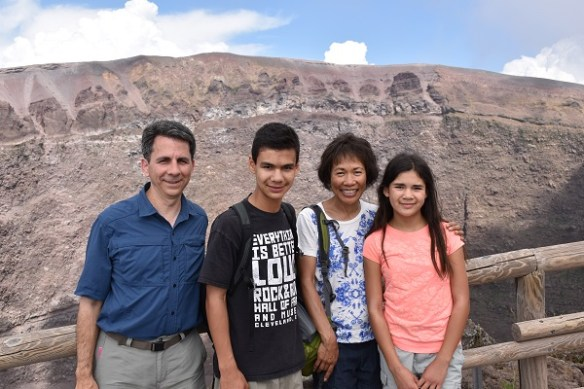 Catching our breath at the top - David, Jacob, me, and Isabella.