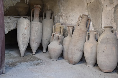 Intact jugs excavated from Herculaneum.