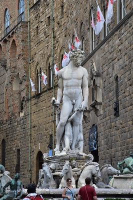 The Fountain of Neptune by Bartholomew Ammannati (1575) at the Piazza della Signora.