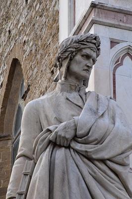 Statue of Dante in front of Santa Croce Church.