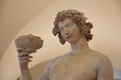 A detail of Michelangelo's Bacchus (1496-1497).