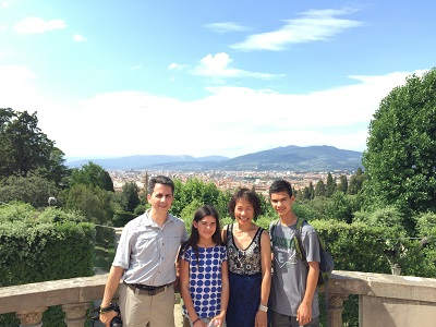 At the top of Boboli Gardens overlooking the Duomo and the city.