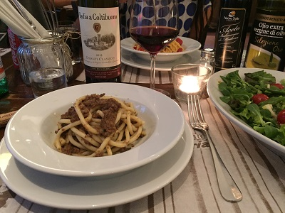 Picci pasta with meat sauce and a Chianti to go with it.