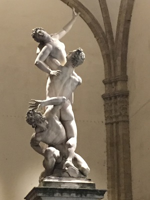 One of my favorite statues: The Rape of Sabine - beautifully lit up with wonderful light and shadows.