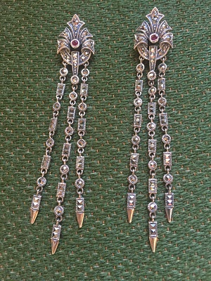 Drop earrings made by Scarpelli Mosaic.