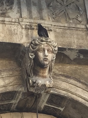 Pigeon on head over archway in San Marco Square.