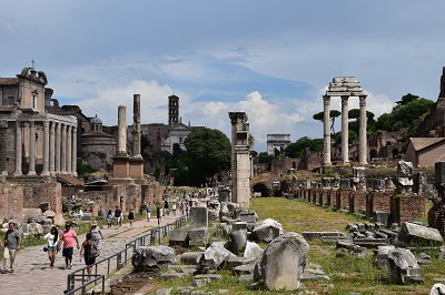 A long view of the Forum facing the entrance to the Forum.