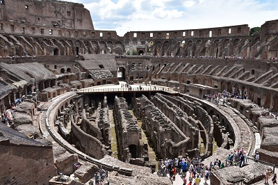 A panoramic view of the interior of the Coliseum.