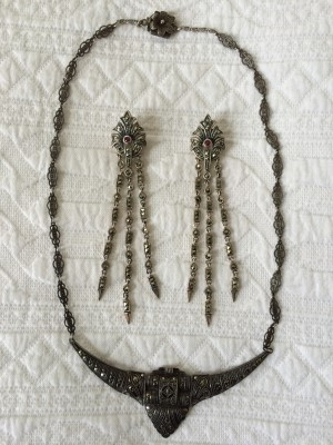 Beautiful 1920s French marcasite necklace from Gypsy Road Studio, which happens to match well with the marcasite earrings from Firenze.