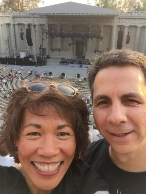Yup, I dragged David to the Jackson Browne concert at the Greek Theatre in August. I bribed him with beer while I had wine. The last time we were at the Greek Theatre? Twenty years ago when we saw the Counting Crows with our friends John (and best man) and Tracy!