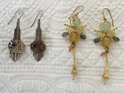 The earrings on the left are made by sisters in Thailand. I had gotten a pair by them a few years ago at Waterlily. Thanks for Fay, we walked into Edgecomb Potters on the waterfront. This collective features artisans from around the country. The earrings on the left are made from vintage watch parts. I chose this very Art Deco pair.