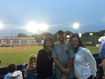Normally I go to baseball games to watch the game, but I had too much fun catching up with my colleagues. Here, with Eric and Cathleen.