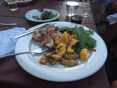 More seafood, please. On the outdoor deck on the waterfront at the Porthole Restaurant and Pub.