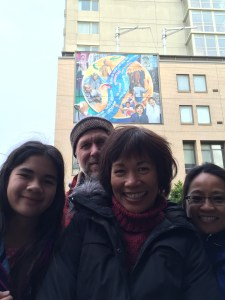 Family - in front of the mural.