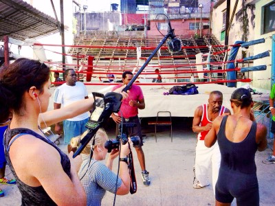 Filming a boxing scene.