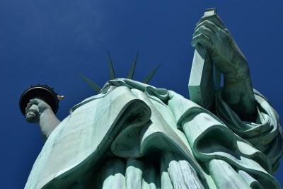 Looking up at Lady Liberty (photo by David).