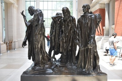 The Burghers of Calais (bronze) by Auguste Rodin. Modeled in 1884-95 and cast in 1985. The 1895 original is installed in front of the old town hall in Calais, France (photo by David).