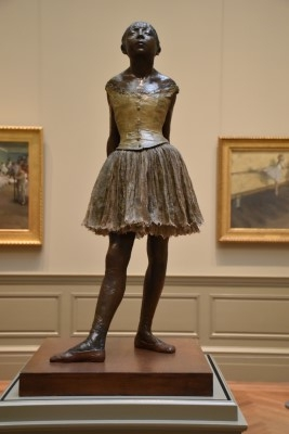 The Little Fourteen-Year-Old Dancer (bronze, partially tinted, with cotton skirt and satin hair ribbon), modeled ca. 1880, cast 1922, by Edgar Degas (photo by me).