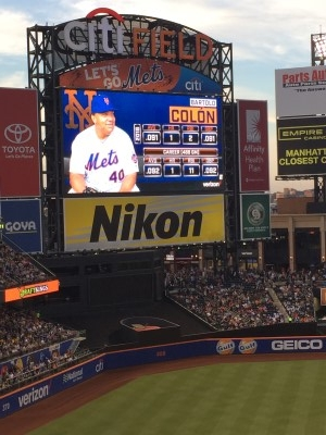 Still pitching strong after leaving the Oakland A's - Bartolo Colon, who even had a base hit (photo by me).