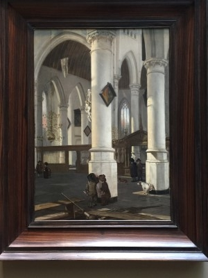 This caught my eye! Interior of the oude Kerke, Delft (oil on wood), ca. 1650, by Emanuel de Witte (photo by me).
