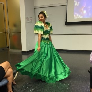 This designer pays homage to the traditional Filipina gown with butterfly sleeves.