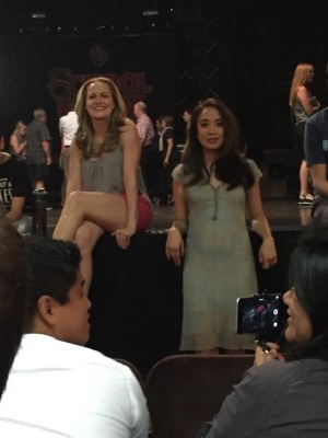 Actresses Mamie Parris and Jaygee Macapugay answer questions from the audience.