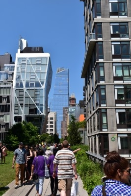All different styles of buildings along the High Line - some modern, some older (photo by David).