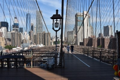 Turning around and seeing Manhattan through the cables (photo by David).