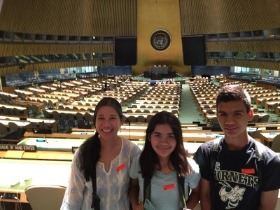 Heidi, Isabella, and Jacob in the General Assembly Hall.