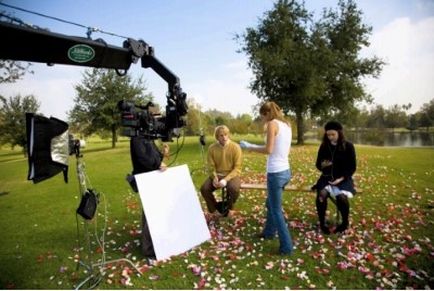 "Behind the camera, directing on the set of ""Me, You, a Bag & Bamboo."""