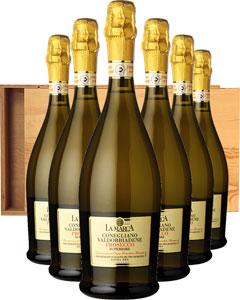 Prosecco di Conegliano Six Bottle Gift in Wood 6 x 75cl Bottles