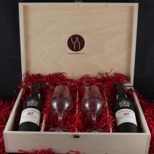 1937 Taylor Fladgate 80 years of Port (2 X 35cl) with two Taylors Port glasses.