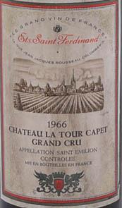 1966 Chateau La Tour Capet 1966 Grand Cru Bordeaux