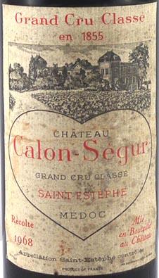 1968 Chateau Calon Segur 1968 St Estephe Grand Cru Classe