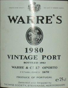 1980 Warre's Vintage Port 1980