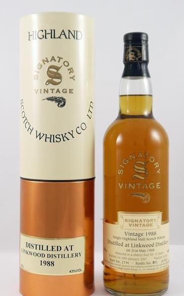 1988 Linkwood 12 year old Single Sherry Butt Malt Whisky 1988 Signatory Vintage