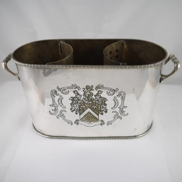 Antique Silver Plated Twin Bottle Wine Cooler