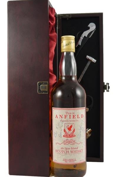 This is Anfield de Luxe Blend Scotch Whisky Signed  by Ian Rush