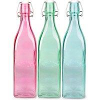 Kilner 3 Piece Square Clip Top Bottle Set 1ltr