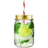 Mason Drinking Jar Tumblers with Gold Lids and Straws 16.5oz / 490ml (Set of 4)