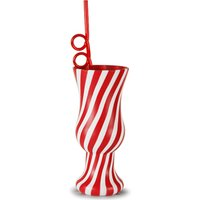 Plastic Candy Stripe Hurricane Cup with Krazy Straw 21.1oz / 600ml (Case of 24)