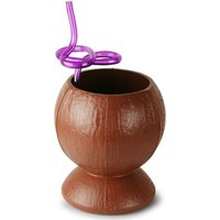 Plastic Coconut Cup with Flower Krazy Straw 26.4oz / 750ml (Single)