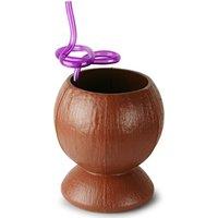 Plastic Coconut Cup with Flower Krazy Straw 26.4oz / 750ml (Single)