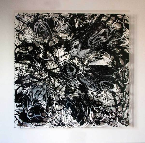 Black and White Drip Painting